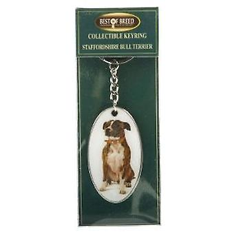 "Best Of Breed Collectible Keyring""Staffordhire Bull Terrier"" Keyring Boxed NC5102"