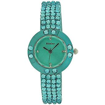 Henley Glamour Ladies Bling Crystal Torquoise Faceted Glass Watch H07128.6