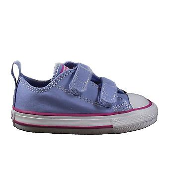Converse Chuck Taylor All Star Ox 760752C Lilac Canvas Childrens Unisex Rip Tape Casual Trainer Shoes