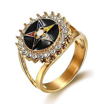 Order of the eastern star zirconia masonic ring-bricks masons