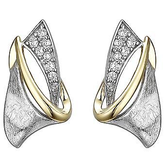 Studearrings 925 الجنيه الاسترليني الفضة ذات اللونين الذهبي مطلي الآيس كريم 16 أقراط الزركونيا مكعب