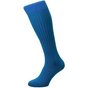 Pantherella Laburnum Merino Lana sobre los calcetines de becerro - Azul gasolina