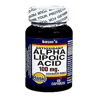 Basic vitamins antioxidant alpha lipoic acid, 100 mg, capsules, 60 ea