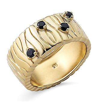 Orphelia Silver 925 Ring with Black Cubic zirconia Gold plated