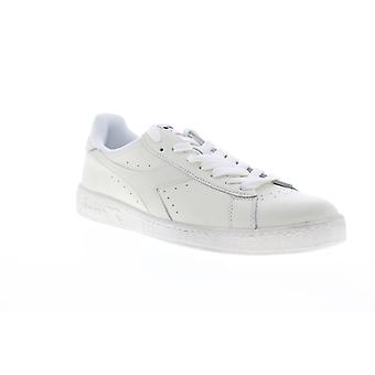 Diadora Jeu L Low Waxed Mens White Leather Low Top Sneakers Chaussures