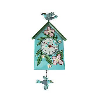 Allen Designs gesegnet Nest Vogelhaus und Vögel Pendel Wanduhr