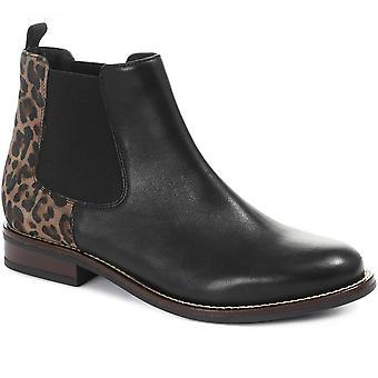 Jones Bootmaker Naisten Leopard Tulosta Nahka Chelsea Boot