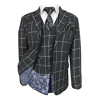 Boys Charcoal Grey 6 Piece Windowpane Check Suit Set