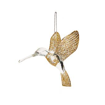 Gold Glittered Acrylic Humming Bird Hanging Ornament