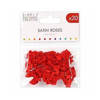 Enkelt Kreativ Satin Roses Röd (20 st) (SCFLW009)