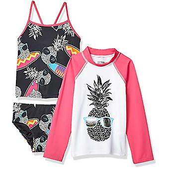 Gefleckte Zebra Big Girls' 3-teiliges Swim Set mit Rashguard und Tankini, Surf P...