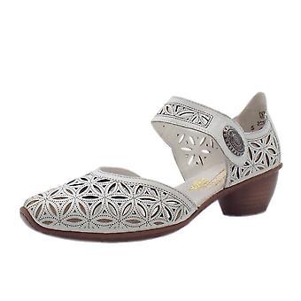 ريكر 43726-80 وودلاند كعب منخفض الكاحل حزام الصيف أحذية في الأبيض