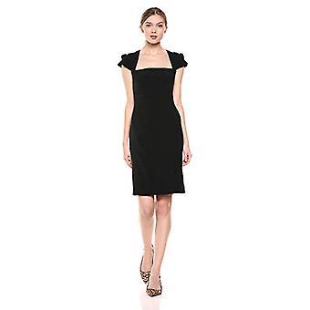 Merk - Lark & Ro Women&s Pleated Ruffle Detail Cap Sleeve Square Neckline Sheath Dress, Zwart, 14