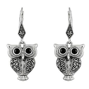 Art Deco Style Round Black Onyx & Marcasite Owl Drop Earrings in 925 Sterling Silver 27424