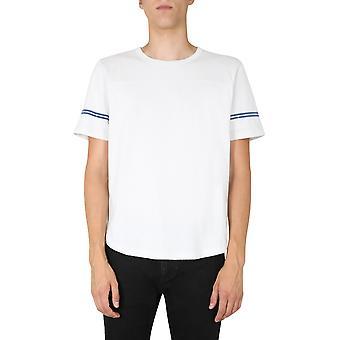 Saint Laurent 624992ybuw29781 Men's White/blue Cotton T-shirt
