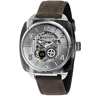 Briston Streamliner Skeleton Silver Dial Grey Leather Strap 201042.SA.G.2.B Men's Watch