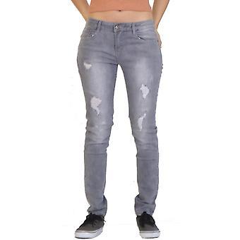 Distressed Slim Skinny-Jeans gerippt