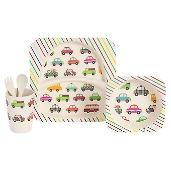 Children's 5 Piece Bamboo Dinner set. Kids Plate, Bowl, Cup, Fork & Spoon - Cars Design