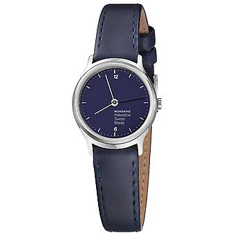 Mon helvetica blue marine watch for Swiss Quartz Analog Woman with cowhide bracelet MH1. L1140. Ld