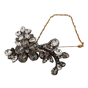 Gold Lapel Pin Chain Clear Gray Crystal Flower Brooch