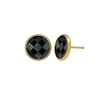 Eternal Collection Symphony Black Chessboard Cut Oostenrijkse Crystal Gold Tone Stud Doorboorde oorbellen