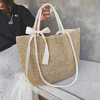 Femei Rotund circulară Rattan răchită paie țesute Crossbody Beach Bag, Doamnelor