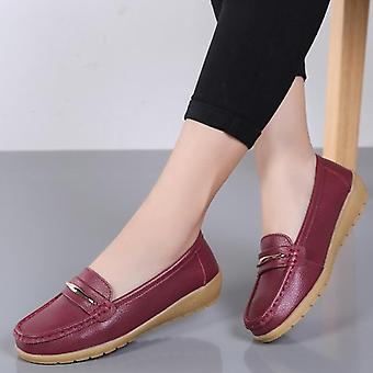 Genuine Leather Shoes Slip On Flats Women's Loafers