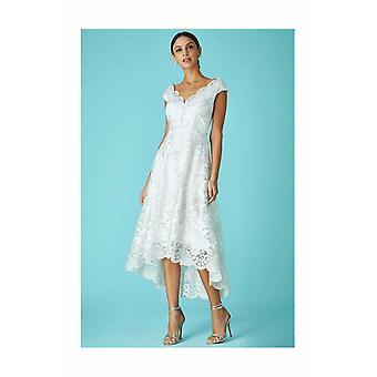 White asymmetric lace embroidery midi dress