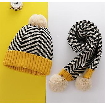 Winter Warm Knit Hat Scarf Child Patchwork Stripe Kid Boy Girls Ear Protection