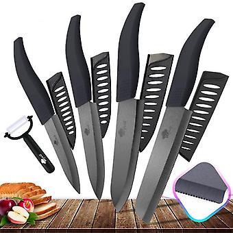 Køkken Knive Savtakket Brød Set + skræller Zirconia Black Blade Frugt Kok Kniv