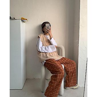 Γυναίκες Homewear Καρό αστραγάλου μήκος πιτζάμες ευρύ πόδι άνετο ελαστικό vintage