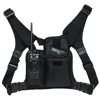 Radio Chest Harness Front Pack Pouch Holster Vest Rig For Walkie Talkie