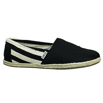 Toms Classic Black Stripe Canvas Slip On Mens Espadrille Shoes 10005414