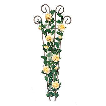 בובות בית ורדים צהובים טיפוס חוט Trellis מיניאטורי פרח גן אביזר