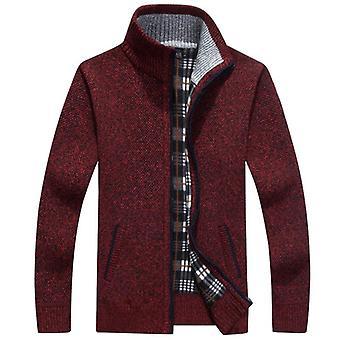Mens Fleece Sweater, Autumn, Winter Warm Cashmere Dress, Slim Fat Wool Zipper,