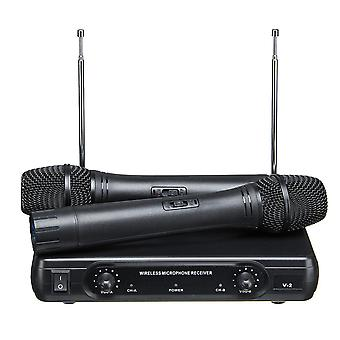 V-2 2 Channel VHF Wireless Dual Handheld Microphone System