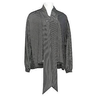 Laurie felt mujeres'manga larga bufanda drape blusa negra A305682
