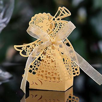 Angel Laser Cut Hollow Carriage Favor Candy Boxes With Ribbon