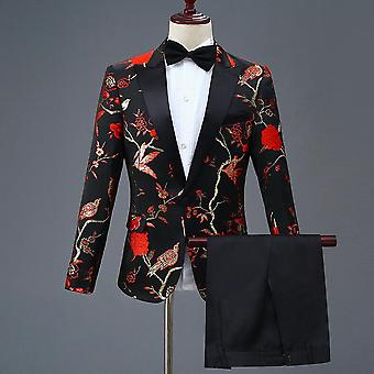 Men's Stylish Embroidery Royal Floral Pattern Suits