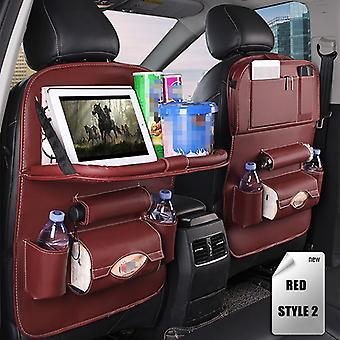 Siège d'auto Organisateur PU Sac de rangement en cuir Pliable Table Siège d'auto Sac de rangement Accessoires de voiture