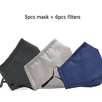 Cotton Mouth Face Mask, Anti Dust, Activated Carbon Filter,  Fabric Masks,