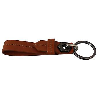 John Galliano Brown Ring Leather Branded Metal Steel Keychain