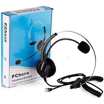 Wokex Mono Telefon Headset, Verdrahtet Leicht RJ9 Freisprech Kopfhörer mit Noise Cancelling Mikrofon