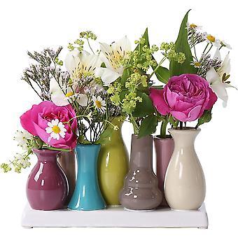 HanFei Handgefertigte kleine Keramik Deko Blumenvasen Set aus 7 Vasen in bunt
