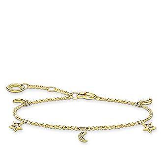 THOMAS SABO - Armband mit Stern und Mond, sterling Silber 925 und Silber, Farbe: Gold, Cod. A1994-414-14-L19v
