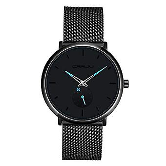 SUPBRO Ultra thin men's watches casual black quartz minimalist with black mesh strap(3)