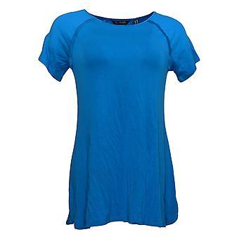 H por Halston Women's Top (XXS) Essentials Raglan-Sleeve Blue