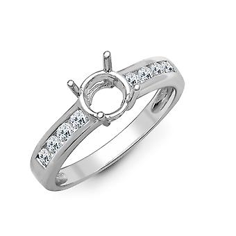 Jewelco London Solid 18ct White Gold Channel Set Round G SI1 0.35ct Diamond Semi Set Mount Engagement Ring 5mm