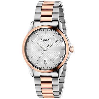 Gucci Ya126447 zilveren wijzerplaat roestvrij staal riem horloge voor mannen
