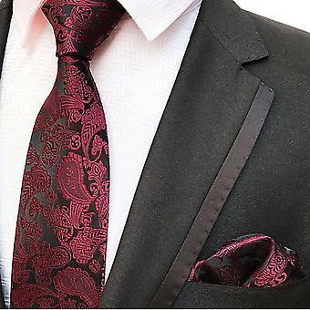 Punaviini paisley solmio & tasku neliö setti